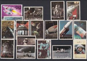 Umm Al Qiwain Space Rockets Satellites Etc Stamps Ref 24877