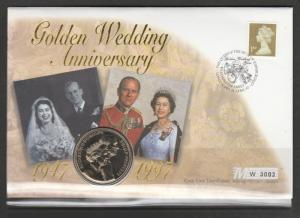 GB Coin FDC 1997 Golden Wedding westminster abbey apecial cancel,wth £5 special