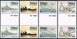 Tuvalu 578-581 gutter,MNH.Michel 599-602. World War II Ships,1991.