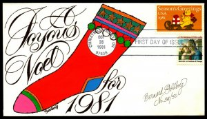 Scott 1940 20 Cents Christmas Bernard Goldberg Hand Painted FDC 38 Of 50