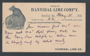 US Sc UX9 1890 Illustrated Advertising Card in blue, Hannibal Lime Co. Bear