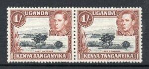 KUT 1938 KGVI PAIR 1/- yellowish brown p13x11¾ SG 145 mint CV £76