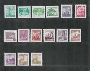 Korea Sc#268-282 M/NH/VF, Cv. $425