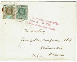 Seychelles 1908 GPO cancel on cover to the U.S., general delivery cancel
