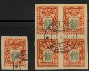 ESTONIA  B 1 Used Imperforated Block of four and single