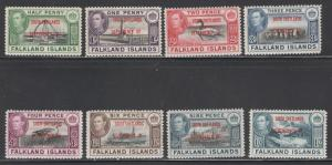 Falkland Islands Dep 1944 Overprints Scott # 5L1 - 5L8 MH