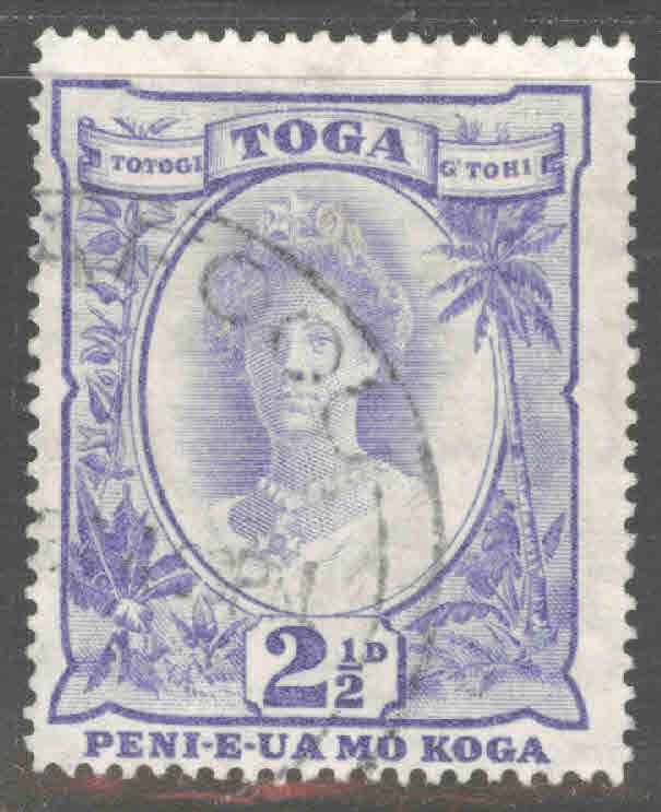 TONGA  Scott 58 Used Queen Salote with turtle watermark