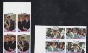 Tuvalu # 381-382, Prince Andrew Royal Wedding, Imperf Pairs NH,
