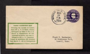 MN St Saint Patrick's Day Cover Green Isle Minnesota March 17, 1934 to Lowell MA