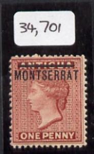 Montserrat 1884 opt on QV 1d of Antigua, mounted mint exa...