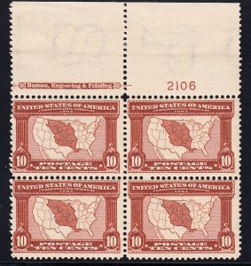 US #327 Fine NH Plate block of 4. Full top, pristine gum