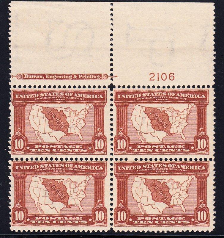 US #327 Fine NH Plate block of 4. Full top, pristine gum