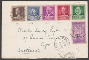 USA 1940 cover to Scotland - Famous Americans franking......................B432