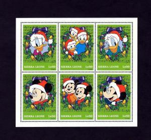 SIERRA LEONE - 1992 - DISNEY - CHRISTMAS - MICKEY - DONALD - MINT MNH SHEET!