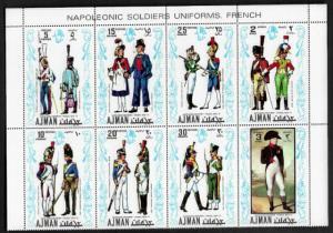 Ajman Michel #685-92 MNH Block - Military Uniforms