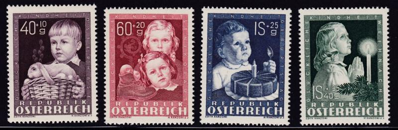 Austria 1949 Semi-Postal Children's Welfare Complete (4) VF/NH(**)