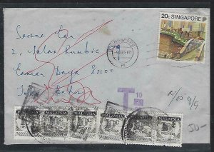 MALAYSIA COVER (P0611B) 1991 INCOMING COVER FROM SINGAPORE POSTAGE DUE 10CX6