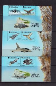 Gibraltar, 1999, Wings of Prey (1st series) set + min sheets, MNH