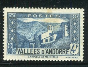 FRENCH ANDORRA; 1932 early Pictorial issue fine Mint hinged 4Fr. value