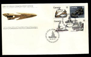 Canada-Sc#748-51-stamp on FDC-Inuit Hunting-1977-