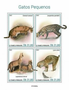 Sao Tome & Principe 2021 MNH Wild Animals Stamps Small Cats Caracal Serval 4v MS