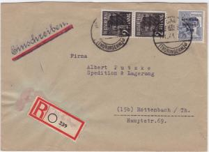 Germany Soviet Zone 1948 Thuringer to Rottenbach stamps cover  R20726