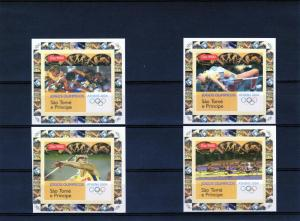 St.Thomas & Prince 2004 Athens Olympics 4 Deluxe SS Imp.MNH