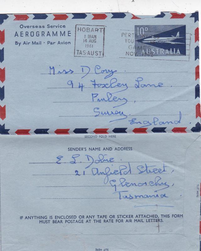 Australia 1961 10d Aerogramme Hobart-Purley UK Perth Invites You Slogan GC