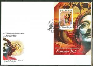 SAO TOME  2014 25th MEMORIAL ANNIVERSARY OF SALVADOR DALI  S/S  FDC