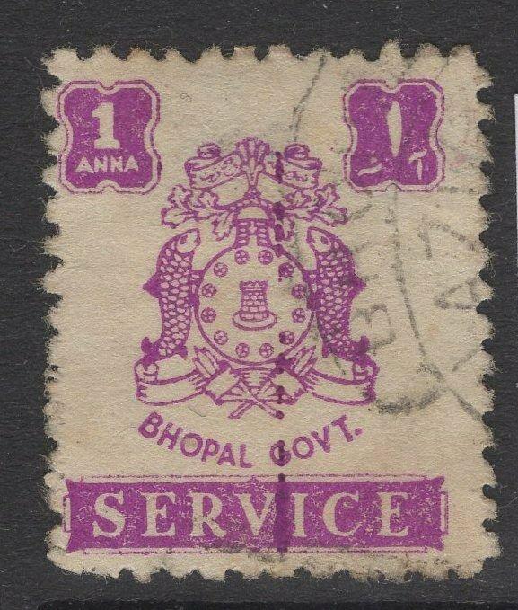 INDIA-BHOPAL SGO352 1945 1a PURPLE USED