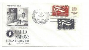 UN NY #57-58  3c + 8c United Nations Human Rights Day 1957 on one ArtCraft FDC