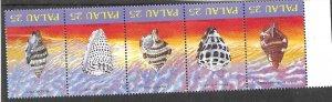 Palau 212-216 MNH strips shells