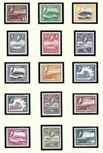 Antigua 107-21 MNH 1953-56 Definitive Set