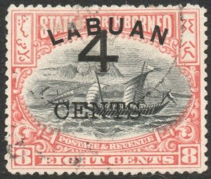 LABUAN-1899 4c on 8c Rose-Red Perf 13½-14 Sg 104a FINE USED V43791