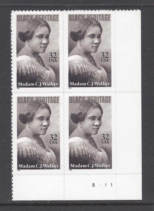 3181 Catalog # Plate Block of 4 Madame C J Walker Black Heritage Entrepreneur
