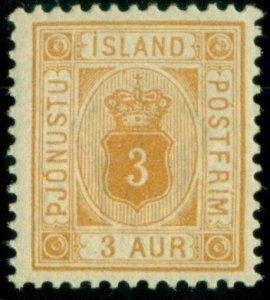 ICELAND #O10 (Tj10) 3aur yellow, og, NH, VF, Scott $45.00