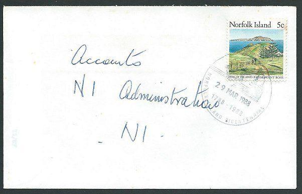 NORFOLK IS 1988 5c local rate cover - 5c - Bicentenary pmk......... .43058