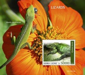 SIERRA LEONE - 2019 - Lizards - Perf Souv Sheet - MNH