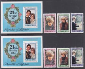 Liberia Sc 958-965 MNH. 1981 Princess Diana & Royal Baby w/ Both Souvenir Sheets