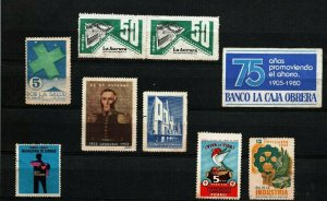Uruguay  lot 8 old  cinderella poster stamp industry military lighthouse health