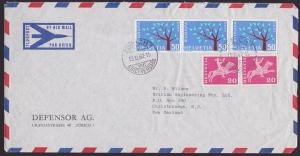 SWITZERLAND TO NEW ZEALAND 1962 airmail cover - nice franking...............4249