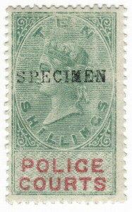 (I.B) QV Revenue : Police Courts 10/- (1876) specimen