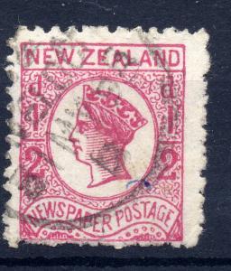 New Zealand 1873 sg 147 1/2d rose , rough perfs newspaper stamp perf 12 1/2 -...