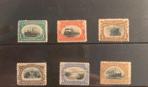 Scott 294-299 set, Pan American Exposition.  MNH, OG.