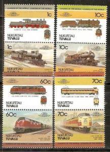 Tuvalu - Nukufetau 1985 Locomotives Railway Train 8v MNH # 3292