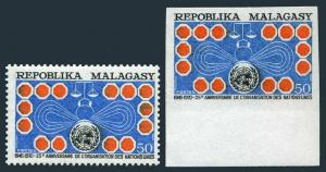 Malagasy 445 perf, imperf,deluxe sheet,MNH. UN,25th Ann.1970.Symbols of Justice