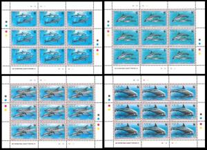 Niue WWF Pacific Dolphins 4 Sheetlets of 9 stamps each 9 sets SG#763-766