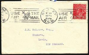 AUSTRALIA 1926 cover Sydney to NZ - Use The Air Mail slogan cancel.........68278