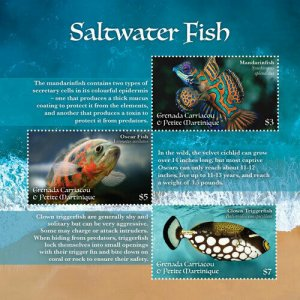 YEAR 2020-GRENADA - SALWATER FISH  3V complet set    MNH ** T