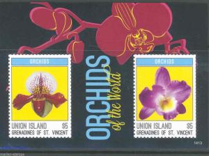 UNION ISLAND 2014 ORCHIDS OF THE WORLD  SOUVENIR SHEET MINT NH